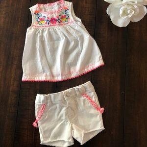 NWOT Carters white tank & shorts set